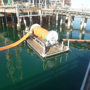 Oil pollution boom deployment exercise